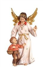 Guardian angel with boy, statue wood carving for Nativity set mod. 912