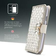 Urcover® Billetera Diamantes Fantasía Wallet Bling Movil Case Vidrio Protector