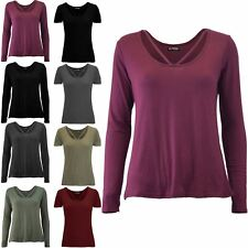 Womens Ladies Baggy Long Sleeve Top Round V Neckline Stretchy Basic Tee T shirt