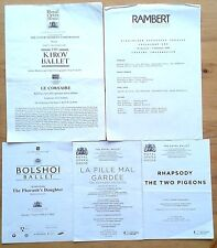 Selection of individual ballet & dance cast lists Bolshoi, Kirov, Royal, Rambert