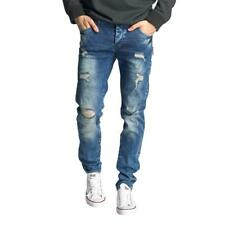 Just Rhyse Männer Straight Fit Jeans Destroyed blau W29 30 W31 32 33 34 36 38