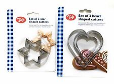 Tala Heart Star Cutters Set of 3 Heart Star Shaped Cookie Pastry Marzipan Cutter
