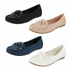 Donna Anne Michelle Slip On moccassini BORCHIA fiocco scarpe basse l4r950