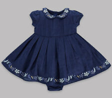 New Baby Girls ex M&S Autograph Outfit Navy Blue Dress Knickers 3-6, 6-9 Months