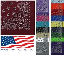 US Made Paisley Bandana, 2-Sided Cotton Americana Trainmen Headwrap Neck Scarf