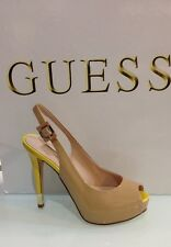 GUESS decollete tacco alto open toe vernice bicolor ladies sling back art 2HE