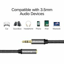 Nylon Braided Jack cord 3.5mm Stereo Male to Female Headset Extension Cable 3m