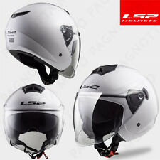 CASCO HELMET JET LADY DONNA DOPPIA VISIERA LS2 OF573 TWISTER SOLID WHITE BIANCO