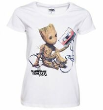 Official Women's White Baby Groot And Cassette Guardians Of The Galaxy T-Shirt