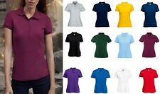 5 Pack Fruit of the Loom Womens Short Sleeve Ladies Fit Piqué Polo T Shirt Top