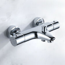 Modern Thermostatic Bath Shower Mixer Taps Deck/Wall Mounted Chrome Bathroom Tap