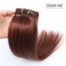 Luxury Clip In Human Hair Extensions #30 Auburn Remy Silky Straight 7pcs 100g