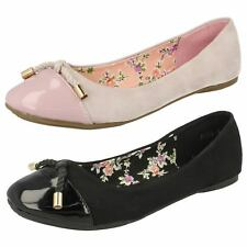 Ladies Spot On Flat Ballerina With 'Bow Detail'