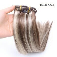 Luxury Clip In Human Hair Extensions #6/613 Balayage Ombre Remy 7pcs 100g