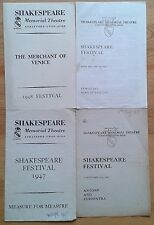 Individual Shakespeare Memorial Theatre programmes 1940s Stratford-upon-Avon