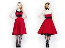 Hell Bunny Ashley 1950s rosso a Pois Rockabilly Pinup Abito - UK