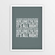 The Beatles Here Comes The Sun Wedding Gift Lyrics Poster Words Print Song A4 A3