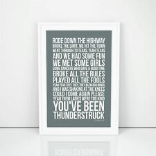 Ac/Dc Thunderstruck Lyrics Printed Wall Art Poster Print A4 A3 Size Decorative