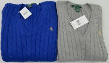 BNWT Ralph Lauren Cable Knit Women Sweater V-Neck Jumper Brand New With Tag