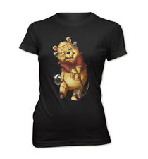 Donna Slim Fit T-Shirt TEDDY THE KILLER POOH COMIC ORRORE ROBOT NUOVO pkg23916