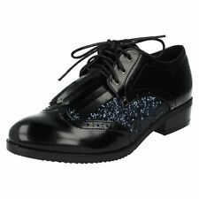f9r842 Spot On Mujer Cordones Planos Estilo Informal Negro Formal Zapatos Oxford