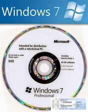 Windows 7 Professional SP1 Original Disc & Genuine License COA Product Key Pro