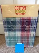 Fall Tablecloth Cotton Park Cottage Sawyer Plaid Various Sizes NEW Red Blue