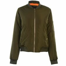 LADIES WOMENS KHAKI GREEN GOLDDIGGA ZIP UP BOMBER JACKET COAT