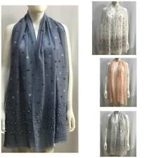 Women Summer Pearl  Butterfly Cotton Shawl Scarf Hijab Sarong Wrap Stole Scarves