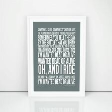 Bon Jovi Wanted Dead Or Alive Poster Lyrics Song Print Typography A4 A3