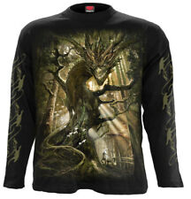 Spiral Dragon Forest, Longsleeve T-Shirt Black|Dragon|Forest|Mystical|Celtic