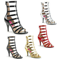 PINK LABEL By Pleaser - Dream 438 Strappy Ankle Boot RED BLACK GOLD SILVER