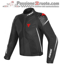 Giacca sportiva 4 stagioni pelle moto Dainese Super Rider D-dry nero bianco ross