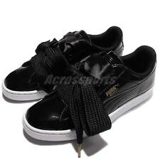 Puma Basket Heart Patent Wns Black White Bow Women Shoes Sneakers 363073-01