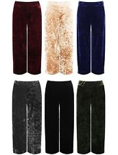 Ladies Plus Size Velour Velvet Wide Flared Leg Pocket Pants Palazzo Trousers