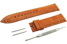 L-Brown Genuine Leather Strap/Band fit Jaeger LeCoultre Watch BUCKLE 18 20 22mm