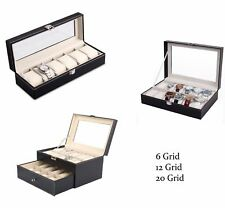 6/12/20 Grid Leather Case Watch Organizer Box Display Watches Protector Showcase