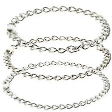 STERLING SILVER CHARM BRACELET LADIES MAIDS CHILDS SOLID CURB LINK LEVER CATCH