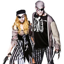 Zombie Pirate + Eyepatch Adults Fancy Dress Halloween Horror Costume Outfit New