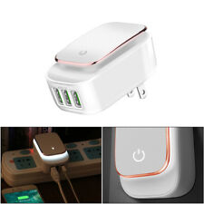 3-Port USB 5V 3.4A Wall Home Travel AC Fast Charger Adapter For iPhone W/ Light
