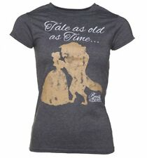 Official Women's Charcoal Marl Disney Beauty And The Beast Tale As Old As Time T