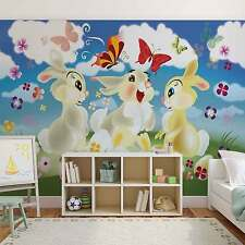 Papel Pintado Foto Mural Rabbit Bunny Mariposas Flowers Photo Fondos de Pantalla