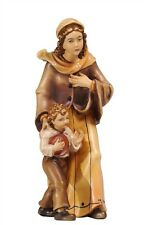 Shepherdess with boy, statue wood carving for Nativity set mod. 912
