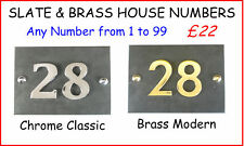 SLATE and BRASS HOUSE NUMBERS