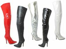 WOMENS LADIES THIGH HIGH OVER THE KNEE HIGH HEEL STRETCH BOOTS SEXY LOOK UK 4-12