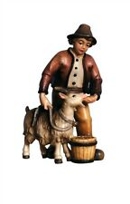 Boy with goat, statue wood carving for Nativity set mod. 912