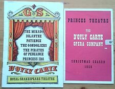 Selection of individual D'Oyly Carte Opera Company programmes UK wide programme