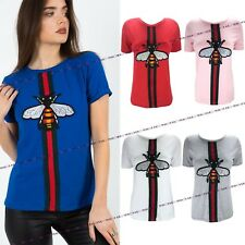 Womens Ladies Short Sleeve Striped Bee T-Shirt Shirt Top Casual Tee Sizes 6-12