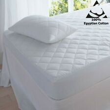 Egyptian Cotton Quilted Mattress Bed Protector Topper Fitted Cover All Sizes