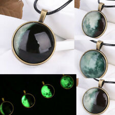 GN- Retro Luminous Moon Eclipse Glass Cabochon Pendant Necklace Jewelry Gift Fas
